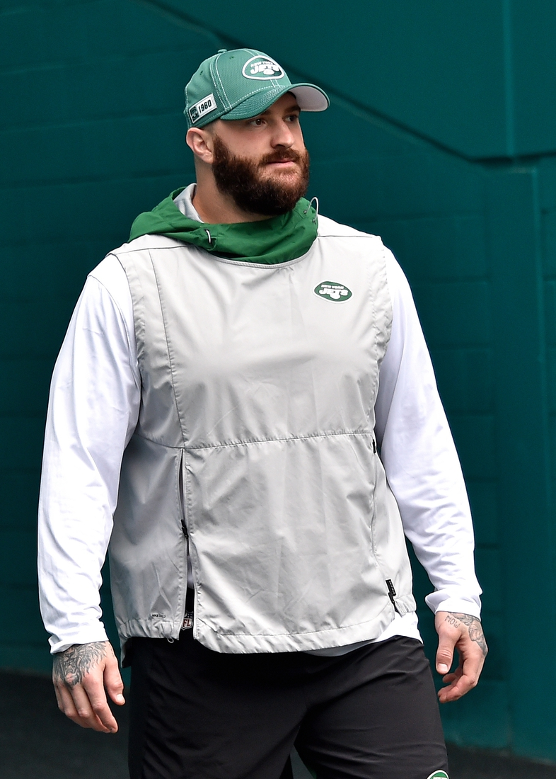 Nov 3, 2019; Miami Gardens, FL, USA; New York Jets offensive guard Brian Winters (67) prior to a game against the Miami Dolphins at Hard Rock Stadium. Mandatory Credit: Steve Mitchell-USA TODAY Sports