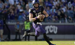 Nov 9, 2019; Fort Worth, TX, USA; TCU Horned Frogs quarterback Max Duggan (15) throws the ball ainst the Baylor Bein overtime agars at Amon G. Carter Stadium. Baylor won 29-23 in triple overtime.  Mandatory Credit: Kirby Lee-USA TODAY Sports