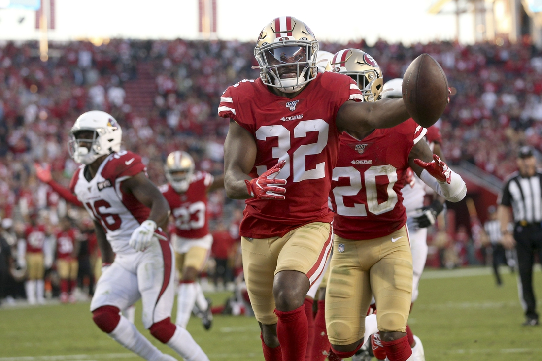 Nov 17, 2019; Santa Clara, CA, USA; San Francisco 49ers free safety D.J. Reed (32) recovers a fumble for a touchdown against the Arizona Cardinals in the fourth quarter at Levi's Stadium. Mandatory Credit: Cary Edmondson-USA TODAY Sports