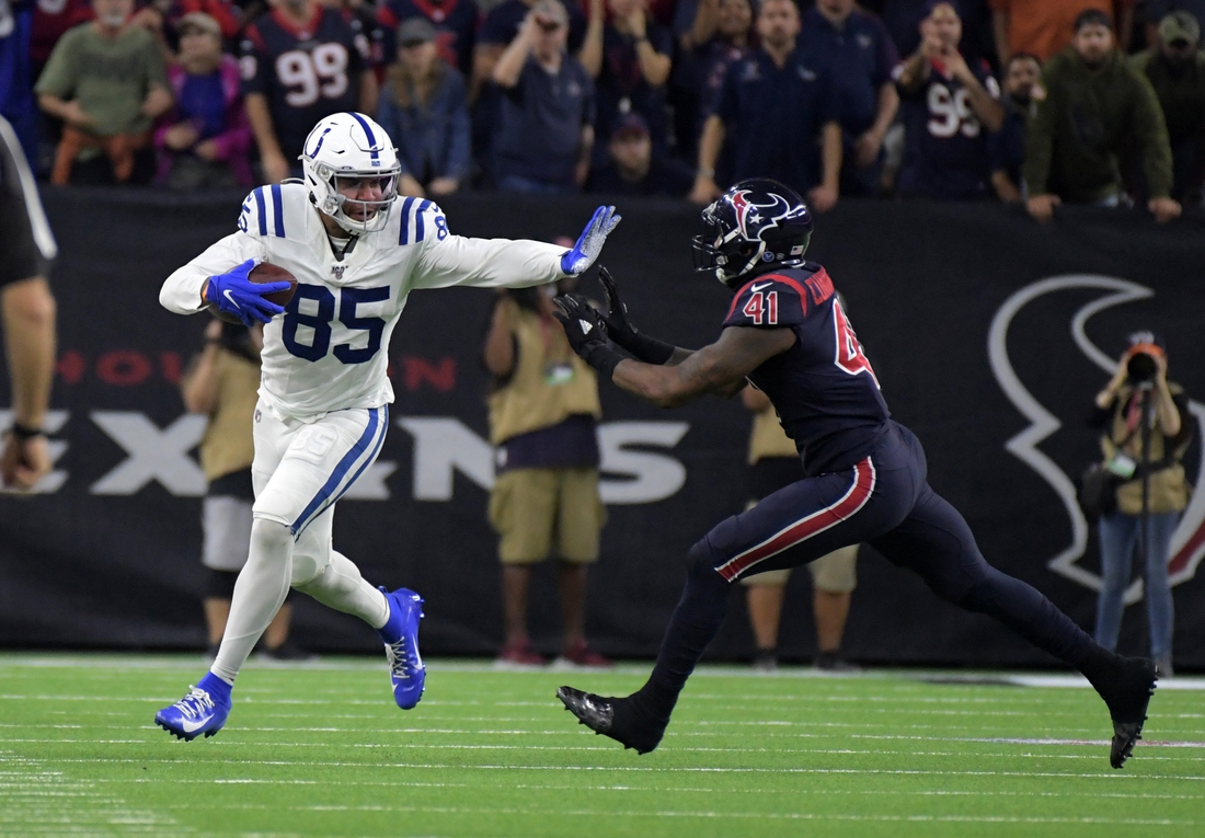 Nov 21, 2019; Houston, TX, USA; Indianapolis Colts tight end Eric Ebron (85) is defended by Houston Texans inside linebacker Zach Cunningham (41) in the fourth quarter  at NRG Stadium. The Texans defeated the Colts 20-17. Mandatory Credit: Kirby Lee-USA TODAY Sports