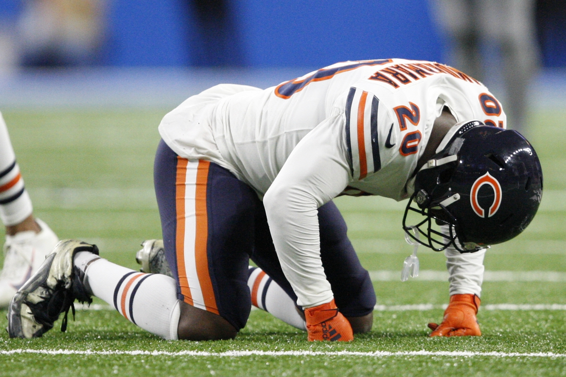 Nov 28, 2019; Detroit, MI, USA; Chicago Bears cornerback Prince Amukamara (20) goes down with an injury during the fourth quarter against the Detroit Lions at Ford Field. Mandatory Credit: Raj Mehta-USA TODAY Sports