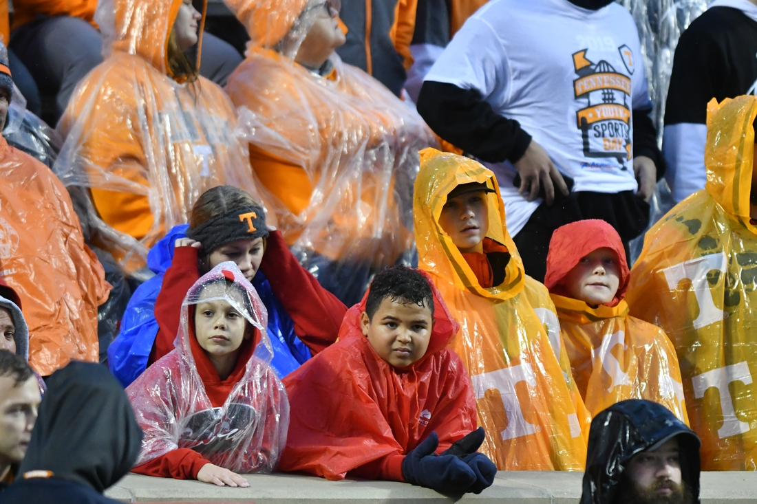 Nov 30, 2019; Knoxville, TN, USA; Tennessee Volunteers fans look on from the stands during the first half against the Vanderbilt Commodores at Neyland Stadium. Mandatory Credit: Randy Sartin-USA TODAY Sports