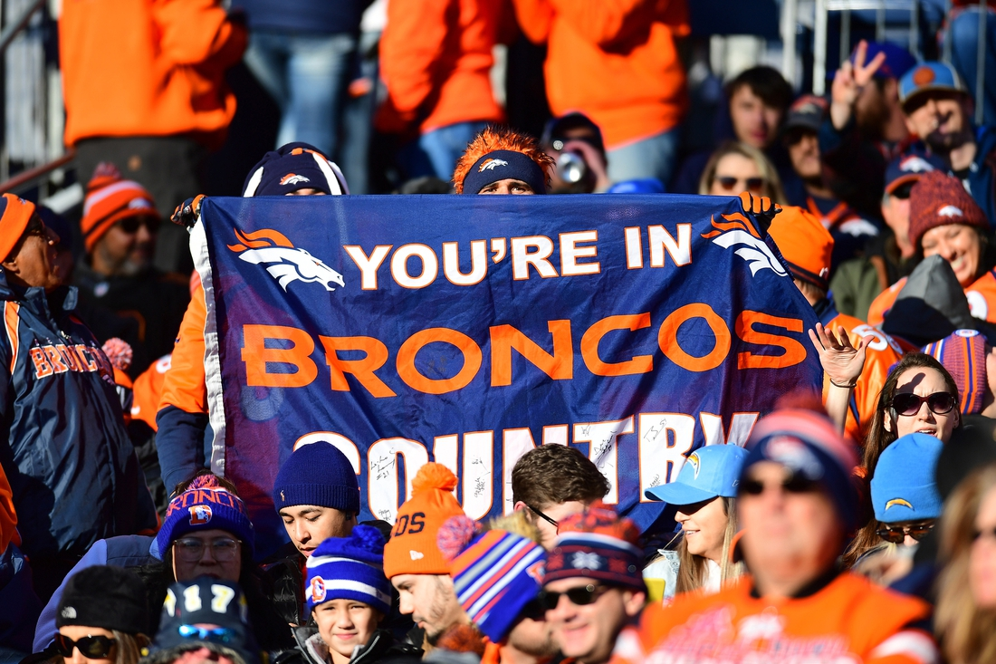 Dec 1, 2019; Denver, CO, USA; General view of Denver Broncos fans during the first quarter against the Los Angeles Chargers at Empower Field at Mile High. Mandatory Credit: Ron Chenoy-USA TODAY Sports