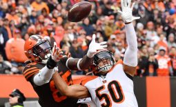 Dec 8, 2019; Cleveland, OH, USA; Cincinnati Bengals outside linebacker Jordan Evans (50) defends against a pass to Cleveland Browns tight end David Njoku (85) during the second half at FirstEnergy Stadium. The pass fell incomplete. Mandatory Credit: Ken Blaze-USA TODAY Sports