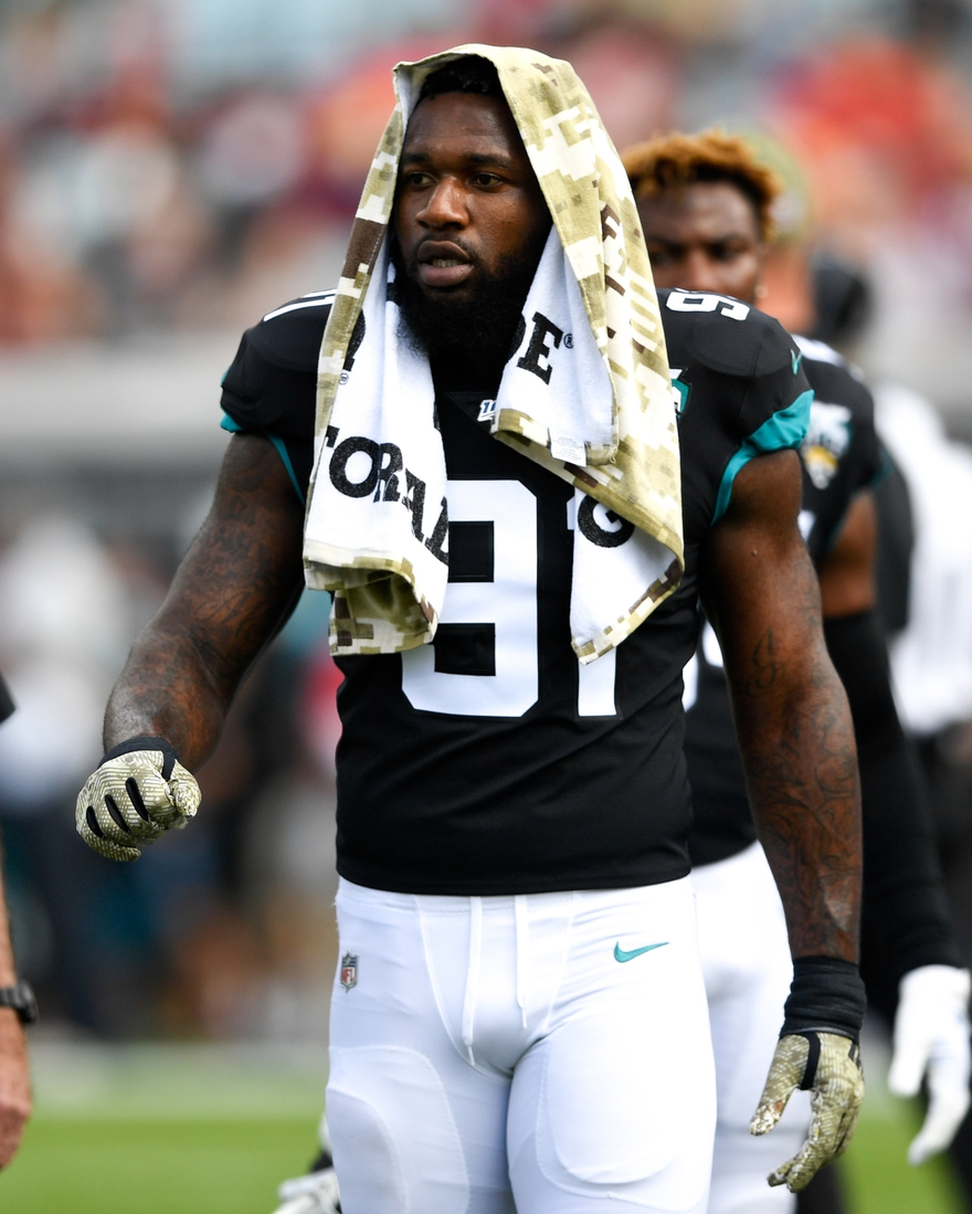Dec 1, 2019; Jacksonville, FL, USA; Jacksonville Jaguars defensive end Yannick Ngakoue (91) looks on prior to the game between the Jacksonville Jaguars and the Tampa Bay Buccaneers at TIAA Bank Field. Mandatory Credit: Douglas DeFelice-USA TODAY Sports