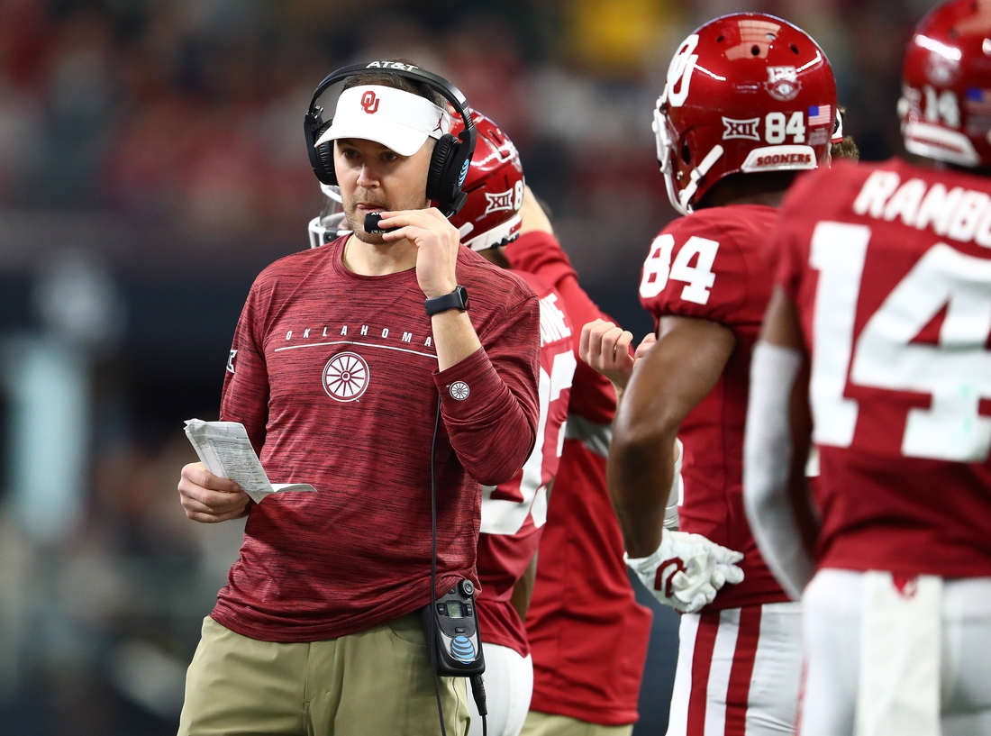 Dec 7, 2019; Arlington, TX, USA; Oklahoma Sooner head coach Lincoln Riley on the sidelines during the third quarter against the Baylor Bears in the 2019 Big 12 Championship Game at AT&T Stadium. Mandatory Credit: Matthew Emmons-USA TODAY Sports