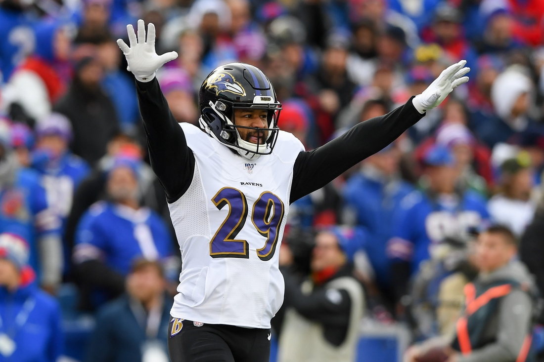 Dec 8, 2019; Orchard Park, NY, USA; Baltimore Ravens free safety Earl Thomas (29) reacts to a defensive play against the Buffalo Bills during the second quarter at New Era Field. Mandatory Credit: Rich Barnes-USA TODAY Sports