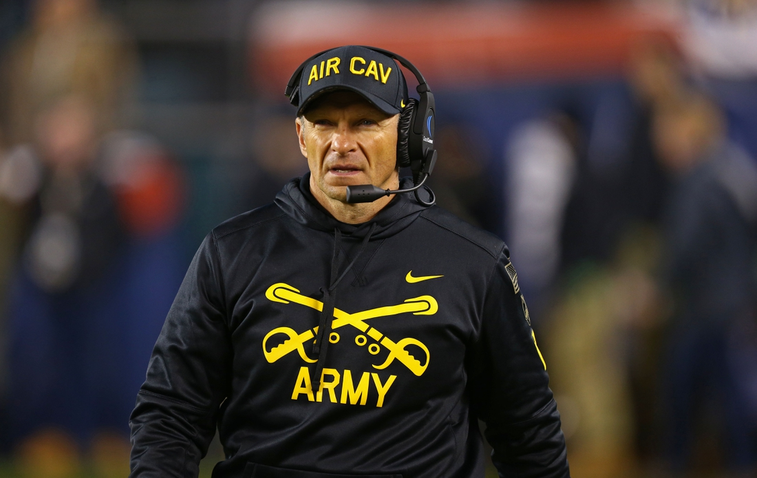Dec 14, 2019; Philadelphia, PA, USA; Army Black Knights head coach Jeff Monken during the second half against the Navy Midshipmen at Lincoln Financial Field. Mandatory Credit: Danny Wild-USA TODAY Sports