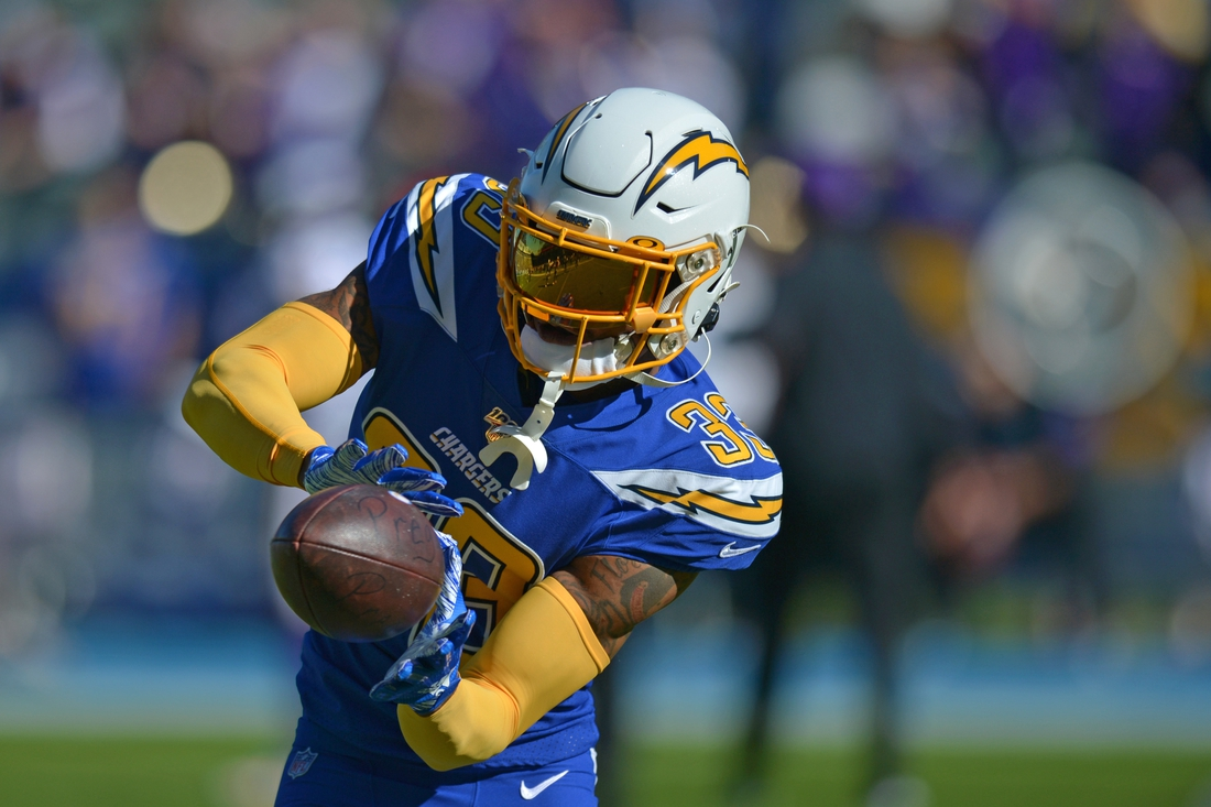 Dec 15, 2019; Carson, CA, USA; Los Angeles Chargers free safety Derwin James (33) warms up before the game against the Minnesota Vikings at Dignity Health Sports Park. Mandatory Credit: Jake Roth-USA TODAY Sports