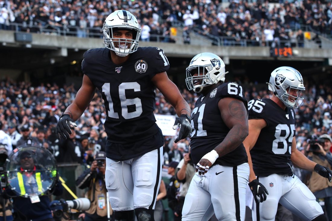 Dec 15, 2019; Oakland, CA, USA; Oakland Raiders wide receiver Tyrell Williams (16) reacts after catching a touchdown pass against the Jacksonville Jaguars in the first quarter at Oakland Coliseum. Mandatory Credit: Cary Edmondson-USA TODAY Sports