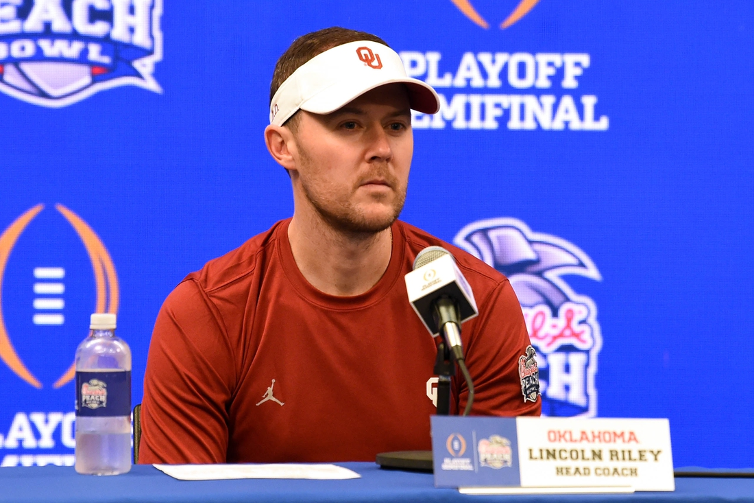 Dec 28, 2019; Atlanta, Georgia, USA; Oklahoma Sooners head coach Lincoln Riley speaks during a press conference after the 2019 Peach Bowl college football playoff semifinal game between the LSU Tigers and the Oklahoma Sooners at Mercedes-Benz Stadium. Mandatory Credit: Dale Zanine-USA TODAY Sports