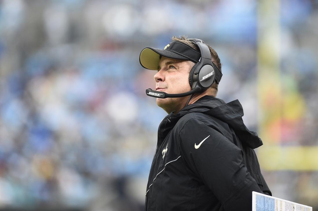 Dec 29, 2019; Charlotte, North Carolina, USA; New Orleans Saints head coach Sean Payton in the second quarter at Bank of America Stadium. Mandatory Credit: Bob Donnan-USA TODAY Sports