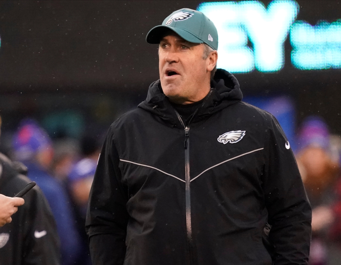 Dec 29, 2019; East Rutherford, New Jersey, USA;  Philadelphia Eagles head coach Doug Pederson before the game against the New York Giants at Met Life Stadium. Mandatory Credit: Robert Deutsch-USA TODAY Sports