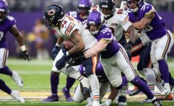 Dec 29, 2019; Minneapolis, Minnesota, USA; Minnesota Vikings inside linebacker Cameron Smith (59) tackles Chicago Bears running back David Montgomery (32) during the third quarter at U.S. Bank Stadium. Mandatory Credit: Harrison Barden-USA TODAY Sports