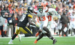 Dec 1, 2019; Pittsburgh, PA, USA;  Cleveland Browns wide receiver Odell Beckham Jr. (13) runs a route against the Pittsburgh Steelers during the fourth quarter at Heinz Field. Mandatory Credit: Philip G. Pavely-USA TODAY Sports