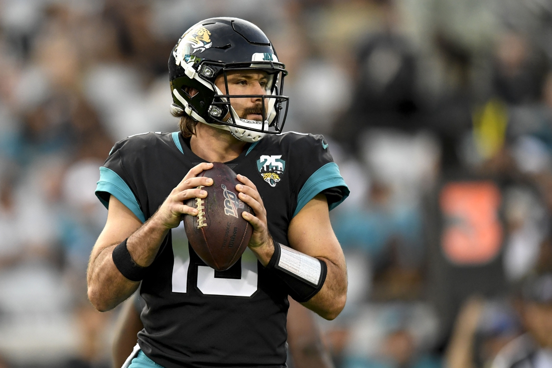 Dec 29, 2019; Jacksonville, Florida, USA; Jacksonville Jaguars quarterback Gardner Minshew (15) looks to pass during the second quarter against the Indianapolis Colts at TIAA Bank Field. Mandatory Credit: Douglas DeFelice-USA TODAY Sports