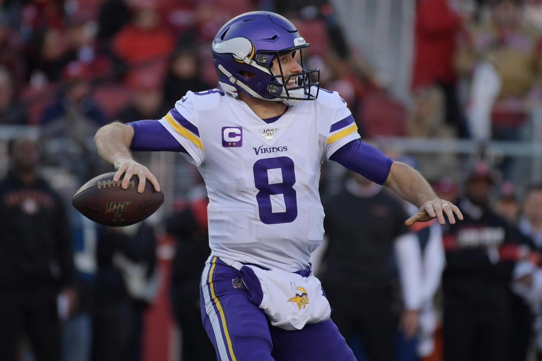 Jan 11, 2020; Santa Clara, California, USA; Minnesota Vikings quarterback Kirk Cousins (8) throws against the San Francisco 49ers during the second half in the NFC Divisional Round playoff football game at Levi's Stadium. Mandatory Credit: Kirby Lee-USA TODAY Sports