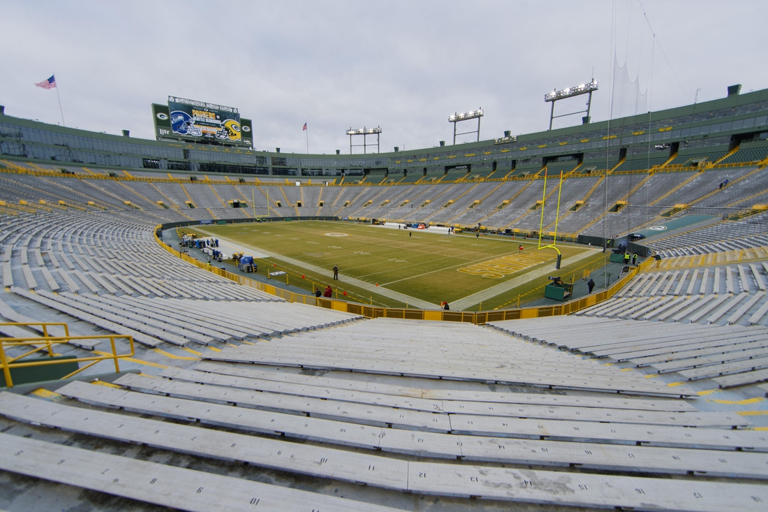 Jan 12, 2020; Green Bay, Wisconsin, USA; General view of Lambeau Field prior to the NFC Divisional Round playoff football game between the Seattle Seahawks an Green Bay Packers. Mandatory Credit: Jeff Hanisch-USA TODAY Sports