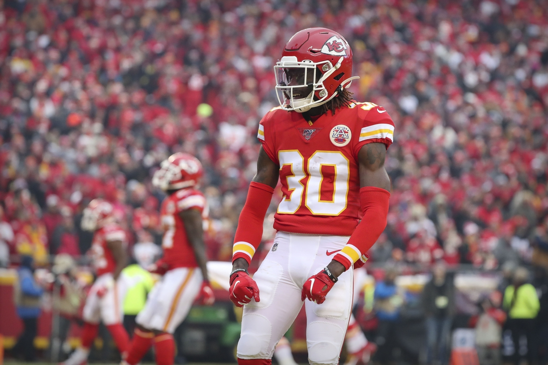 Jan 12, 2020; Kansas City, MO, USA; Kansas City Chiefs cornerback Alex Brown (30) celebrates during the second quarter against the Houston Texans in a AFC Divisional Round playoff football game at Arrowhead Stadium.  Mandatory Credit: Jay Biggerstaff-USA TODAY Sports