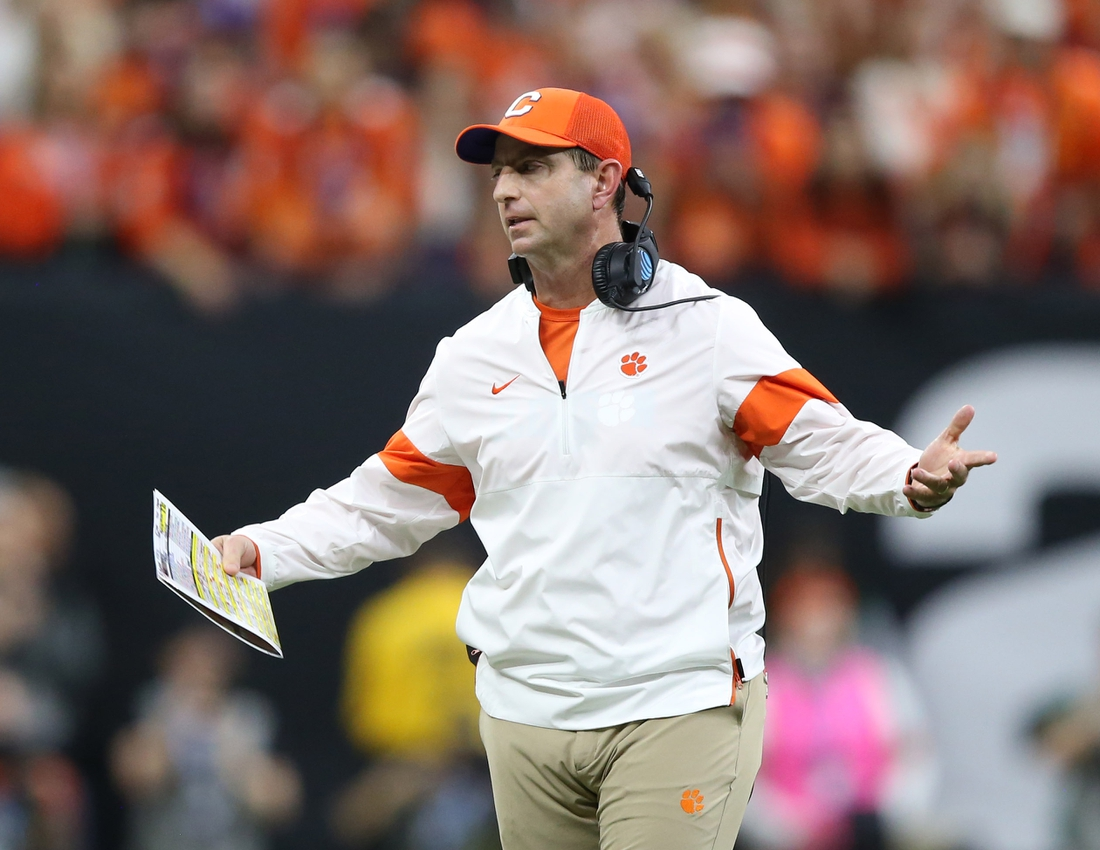 Jan 13, 2020; New Orleans, Louisiana, USA; Clemson Tigers head coach Dabo Swinney reacts against the LSU Tigers first half in the College Football Playoff national championship game at Mercedes-Benz Superdome. Mandatory Credit: Chuck Cook-USA TODAY Sports