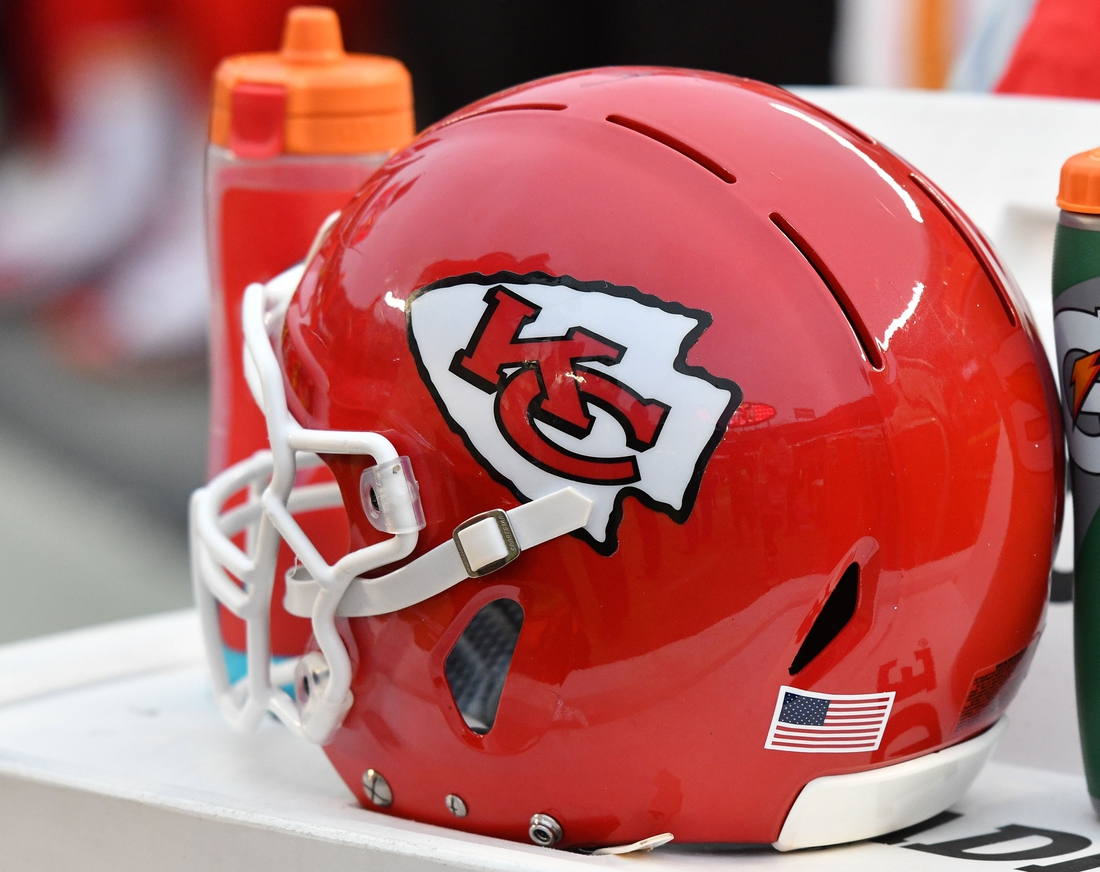Jan 12, 2020; Kansas City, Missouri, USA; A general view of a Kansas City Chiefs helmet during the AFC Divisional Round playoff football game against the Houston Texans at Arrowhead Stadium. Mandatory Credit: Denny Medley-USA TODAY Sports