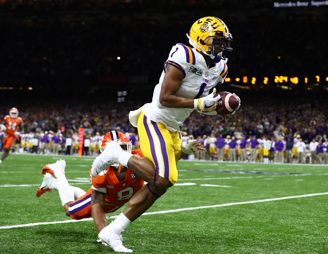 Jan 13, 2020; New Orleans, Louisiana, USA; LSU Tigers receiver Ja'Marr Chase (1) in action against the Clemson Tigers in the College Football Playoff national championship game at Mercedes-Benz Superdome. Mandatory Credit: Matthew Emmons-USA TODAY Sports