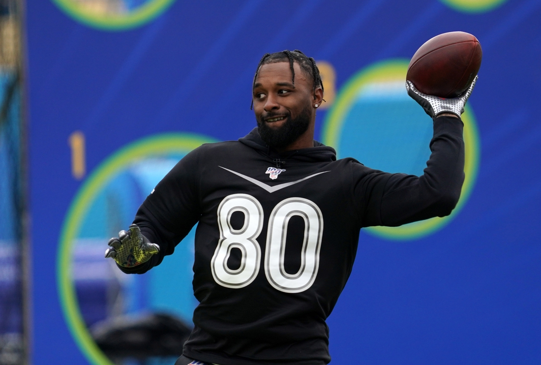 Jan 22, 2020; Kissimmee, Florida, USA; Cleveland Browns receiver Jarvis Landry (80) throws the ball during the Pro Bowl Skills Showdown at ESPN Wide World of Sports. Mandatory Credit: Kirby Lee-USA TODAY Sports