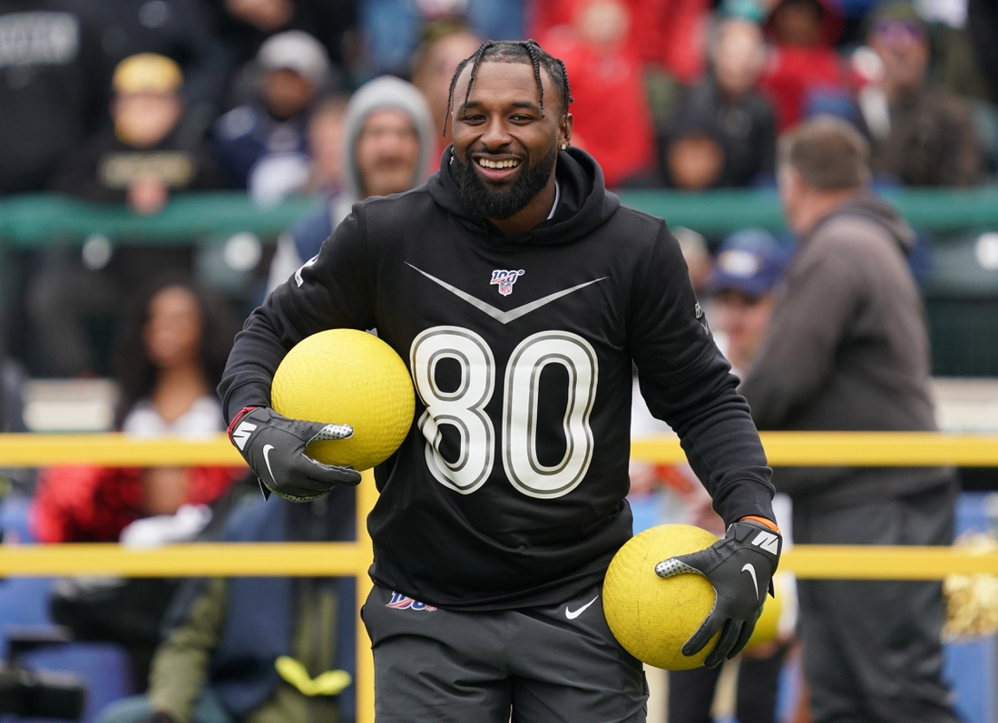 Jan 22, 2020; Kissimmee, Florida, USA; Cleveland Browns receiver Jarvis Landry (80) during the dodgeball competition at he Pro Bowl Skills Showdown at ESPN Wide World of Sports. Mandatory Credit: Kirby Lee-USA TODAY Sports