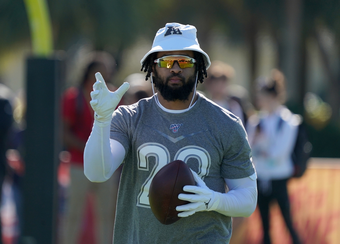 Jan 25, 2020; Kissimmee, Florida, USA; Baltimore Ravens safety Earl Thomas (29) during AFC Practice at ESPN Wide World of Sports. Mandatory Credit: Kirby Lee-USA TODAY Sports