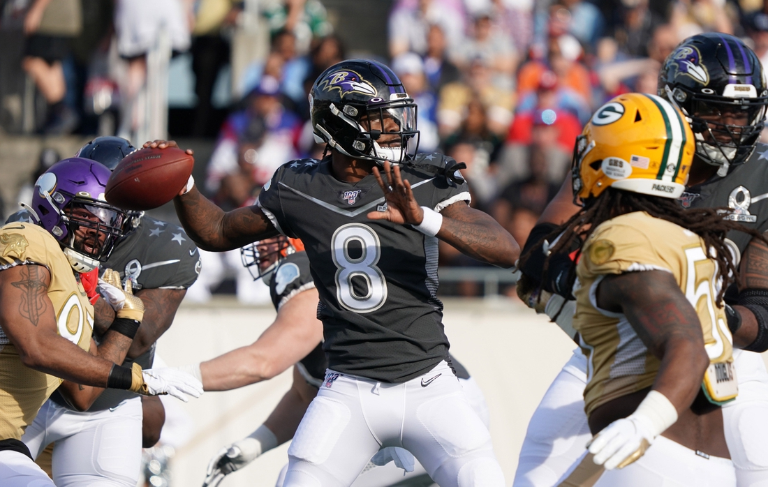 Jan 26, 2020; Orlando, Florida, USA; AFC quarterback Lamar Jackson of the Baltimore Ravens (8) throws the ball in the second quarter against the NFC  in the 2020 NFL Pro Bowl at Camping World Stadium. Mandatory Credit: Kirby Lee-USA TODAY Sports