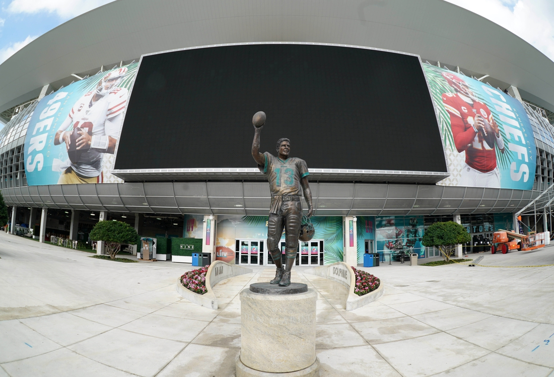 Jan 28, 2020; Miami Gardens, Florida, USA; General overall view of statue of former Miami Dolphins quarterback Dan Marino (13) at Hard Rock Stadium prior to Super Bowl LIV between the San Francisco 49ers and the Kansas City Chiefs. Mandatory Credit: Kirby Lee-USA TODAY Sports
