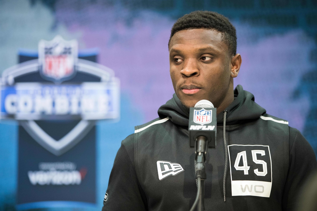 Feb 25, 2020; Indianapolis, Indiana, USA; Texas Christian wide receiver Jalen Reagor (WO45) speaks to the media during the 2020 NFL Combine in the Indianapolis Convention Center. Mandatory Credit: Trevor Ruszkowski-USA TODAY Sports