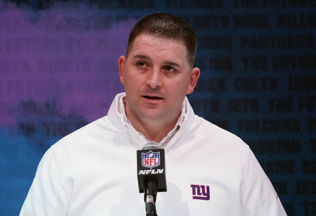 Feb 25, 2020; Indianapolis, Indiana, USA; New York Giants coach Joe Judge speaks during the NFL Scouting Combine at the Indiana Convention Center. Mandatory Credit: Kirby Lee-USA TODAY Sports