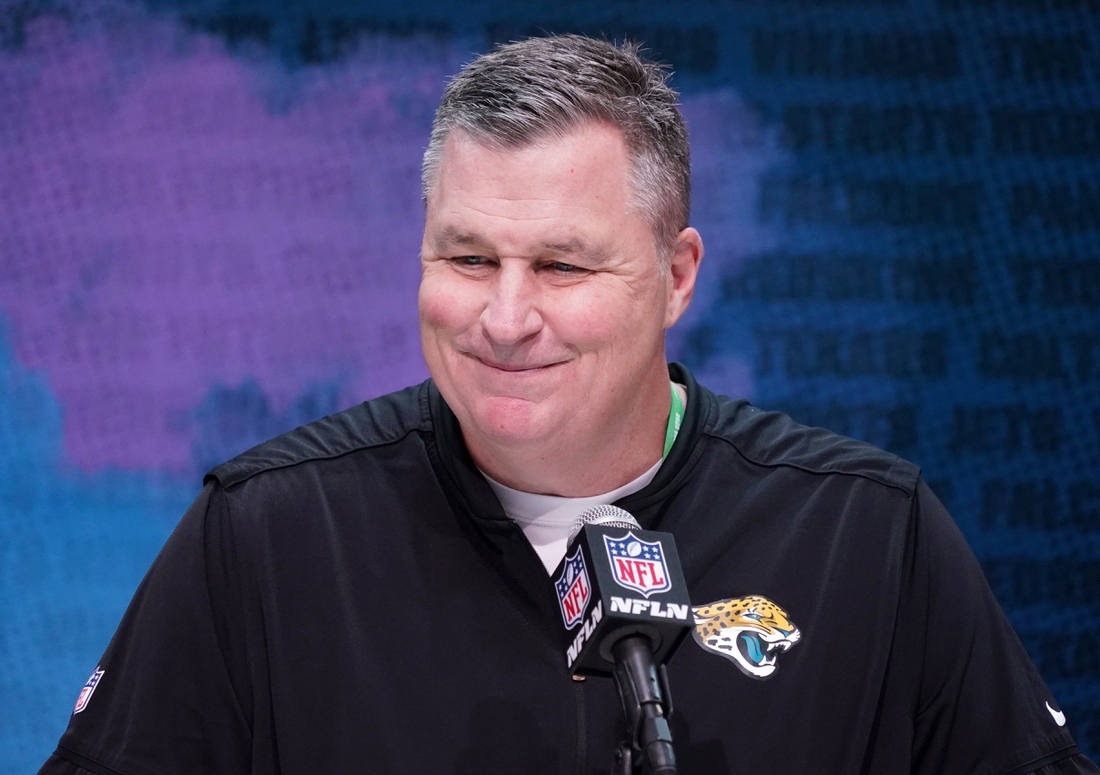 Feb 25, 2020; Indianapolis, Indiana, USA;  Jacksonville Jaguars coach Doug Marrone speaks during the NFL Scouting Combine at the Indiana Convention Center. Mandatory Credit: Kirby Lee-USA TODAY Sports