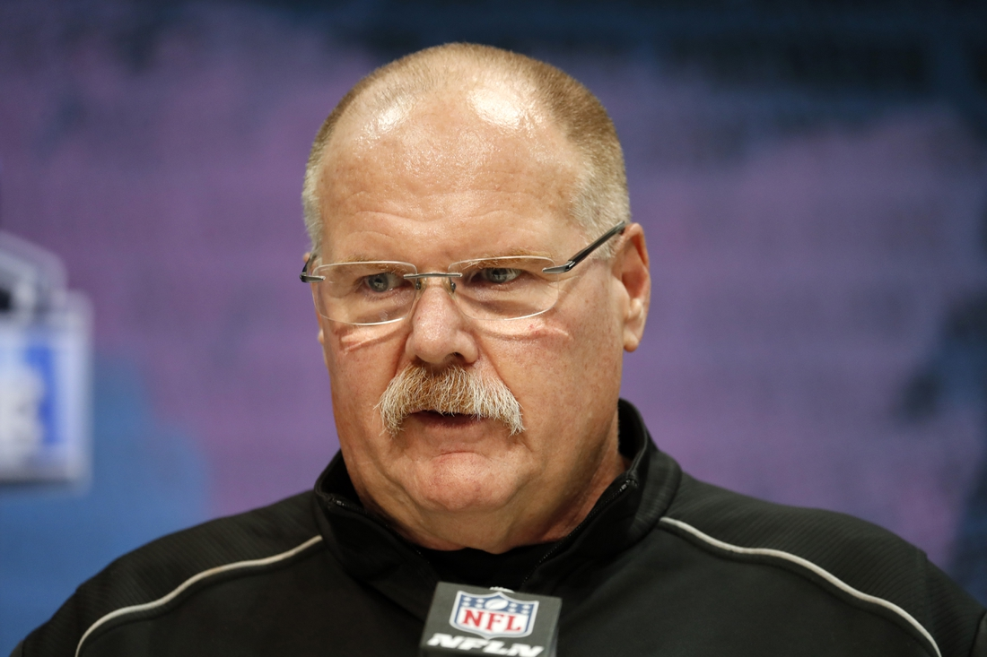 Feb 25, 2020; Indianapolis, Indiana, USA; Kansas City Chiefs coach Andy Reid speaks to the media during the NFL Combine at the Indiana Convention Center. Mandatory Credit: Brian Spurlock-USA TODAY Sports