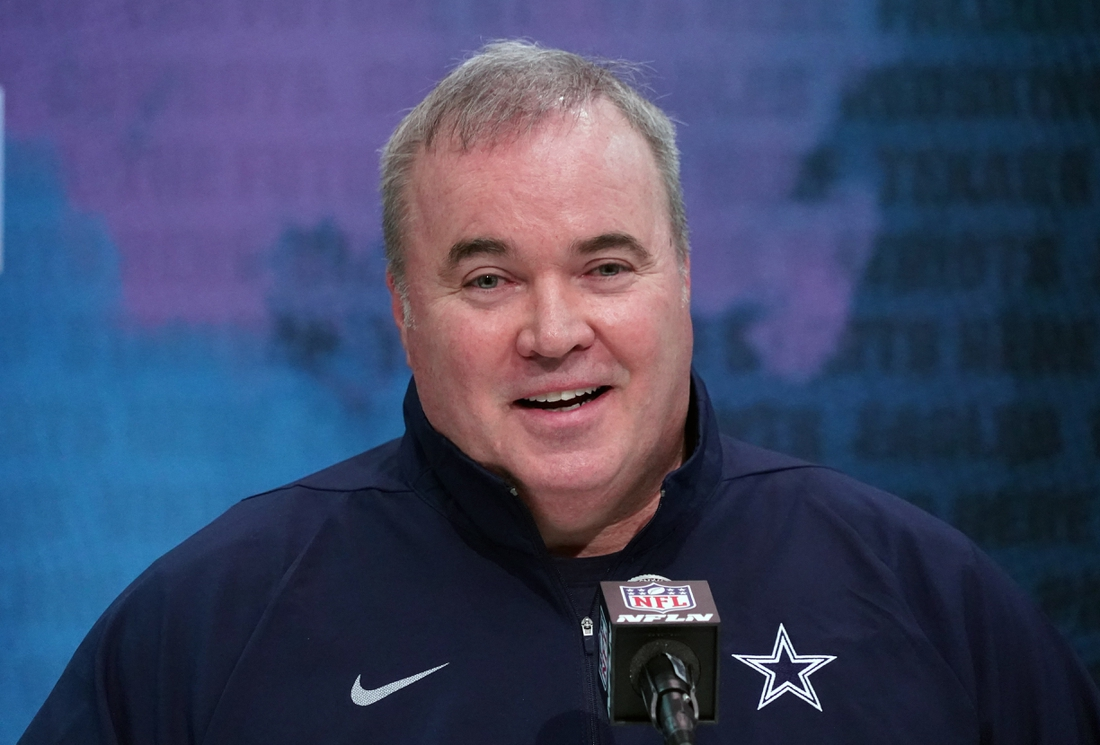Feb 26, 2020; Indianapolis, Indiana, USA; Dallas Cowboys coach Mike McCarthy speaks during the NFL Scouting Combine at the Indiana Convention Center. Mandatory Credit: Kirby Lee-USA TODAY Sports