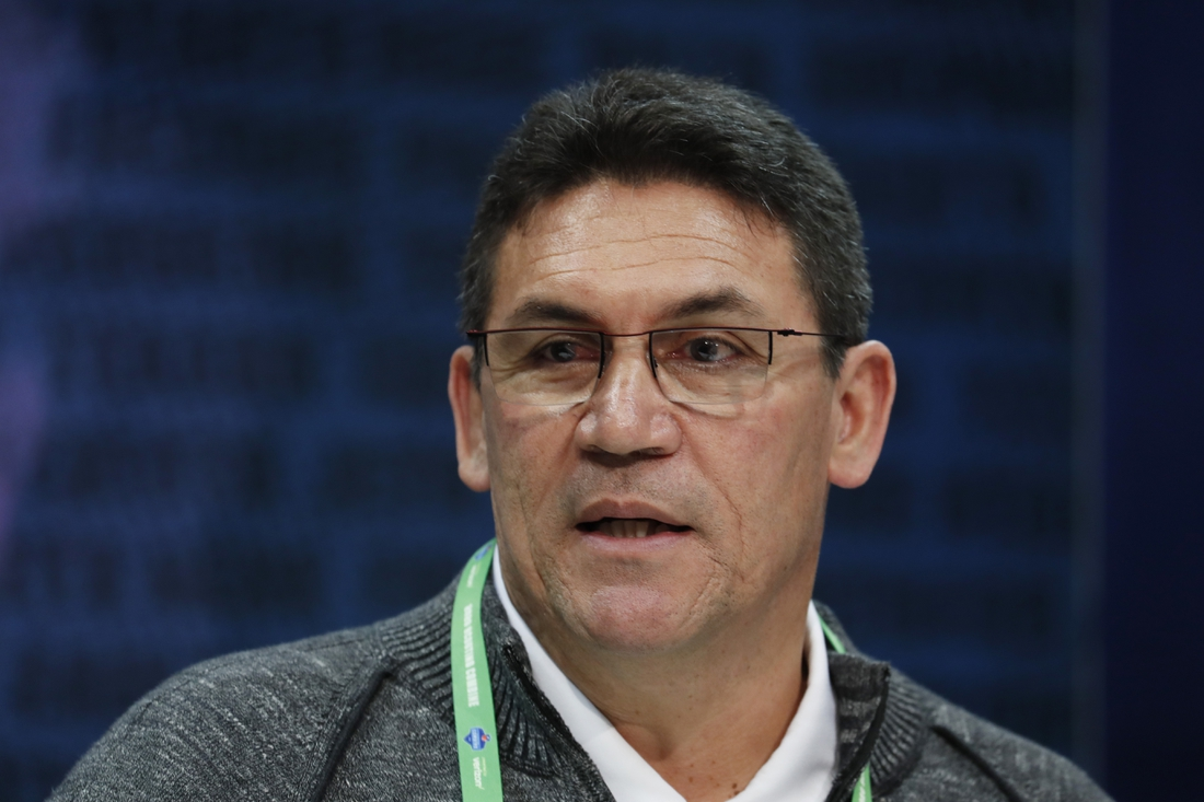 Feb 26, 2020; Indianapolis, Indiana, USA; Washington Redskins coach Ron Rivera  speaks to the media during the 2020 NFL Combine at the Indiana Convention Center. Mandatory Credit: Brian Spurlock-USA TODAY Sports