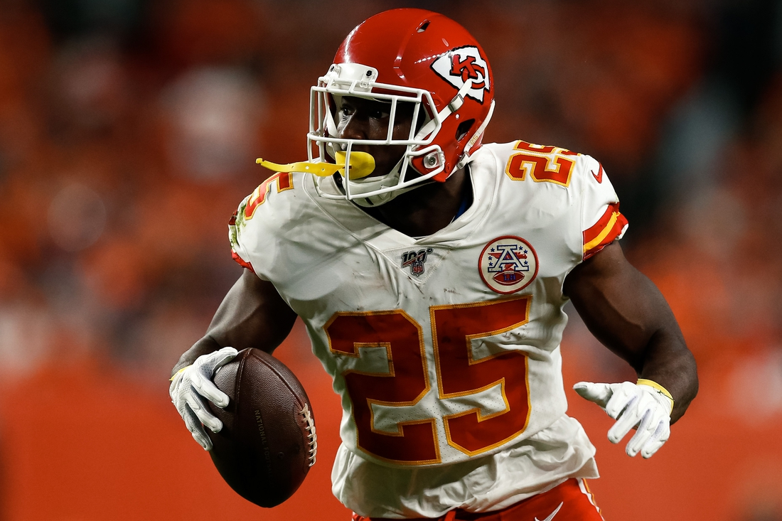 Oct 17, 2019; Denver, CO, USA; Kansas City Chiefs running back LeSean McCoy (25) runs the ball in the first quarter against the Denver Broncos at Empower Field at Mile High. Mandatory Credit: Isaiah J. Downing-USA TODAY Sports