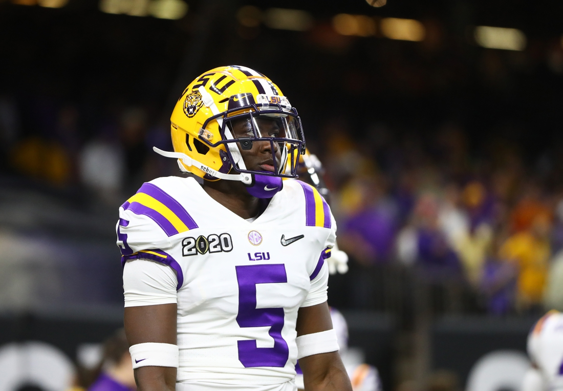 Jan 13, 2020; New Orleans, Louisiana, USA; LSU Tigers cornerback Kary Vincent Jr. (5) against the Clemson Tigers in the College Football Playoff national championship game at Mercedes-Benz Superdome. Mandatory Credit: Mark J. Rebilas-USA TODAY Sports