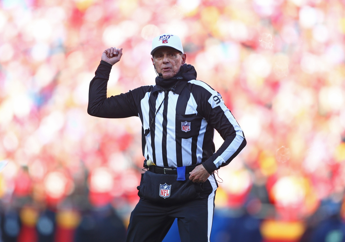 Jan 19, 2020; Kansas City, Missouri, USA; NFL referee Tony Corrente during the Tennessee Titans game against the Kansas City Chiefs during the AFC Championship Game at Arrowhead Stadium. Mandatory Credit: Mark J. Rebilas-USA TODAY Sports