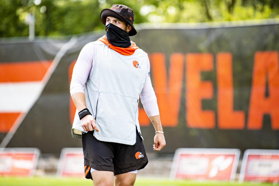 Aug 10, 2020; Cleveland, OH, USA;  Cleveland Browns player Baker Mayfield during training camp. Mandatory Credit: Matt Starkey/Cleveland Browns via USA TODAY Sports