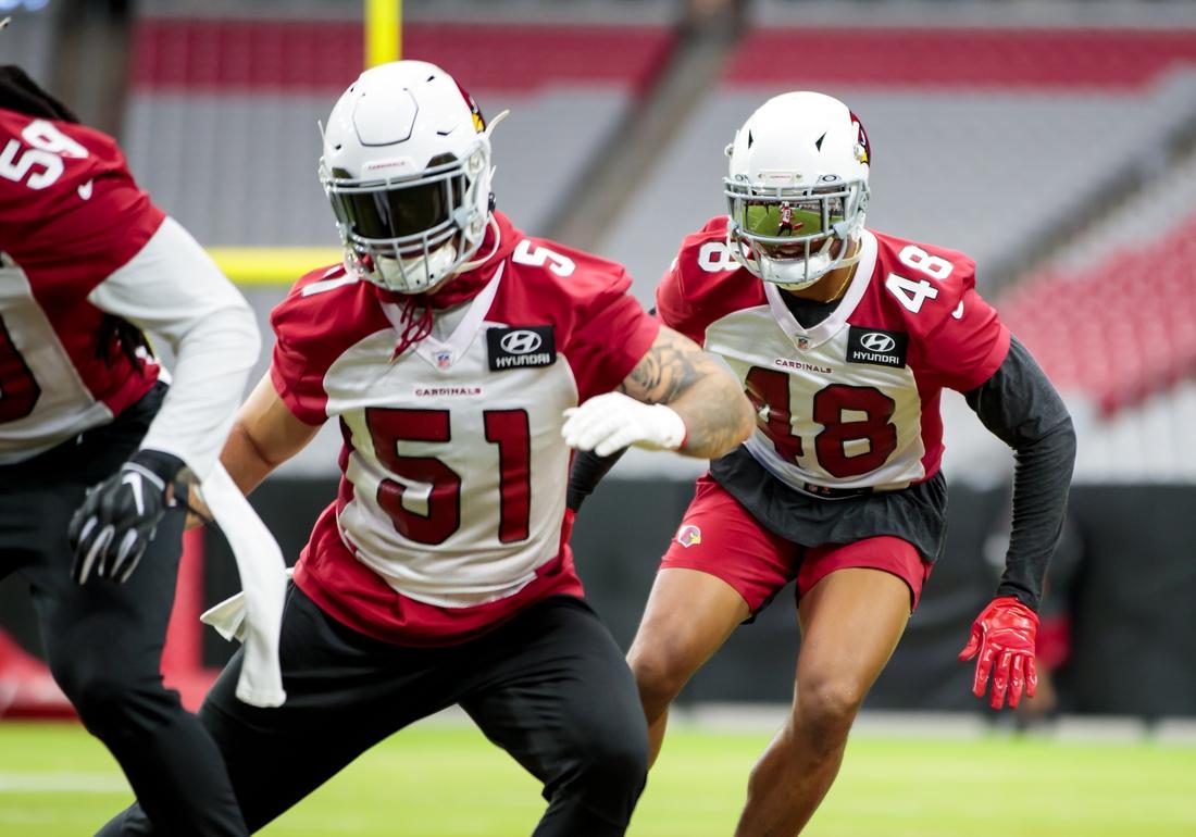 Aug 12, 2020; Glendale, Arizona, USA; Arizona Cardinals linebacker Isaiah Simmons (48) does drills during training camp at State Farm Stadium. Mandatory Credit: Mark J. Rebilas-USA TODAY Sports