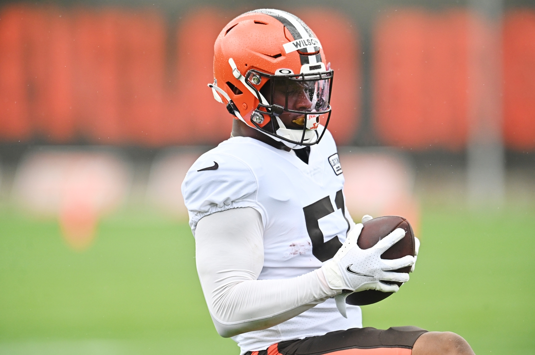 Aug 17, 2020; Berea, Ohio, USA;  Cleveland Browns linebacker Mack Wilson (51) runs a drill during training camp at the Cleveland Browns training facility. Mandatory Credit: Ken Blaze-USA TODAY Sports