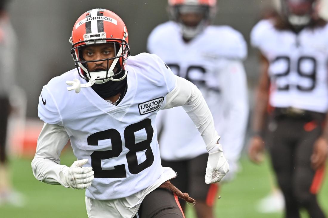 Aug 17, 2020; Berea, Ohio, USA;  Cleveland Browns cornerback Kevin Johnson (28) runs a drill during training camp at the Cleveland Browns training facility. Mandatory Credit: Ken Blaze-USA TODAY Sports