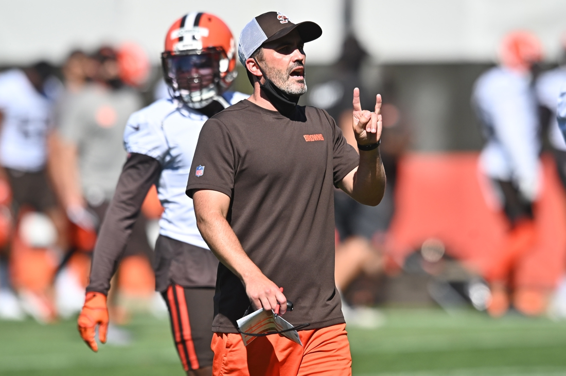 Aug 20, 2020; Berea, Ohio, USA;  Cleveland Browns head coach Kevin Stefanski during training camp at the Cleveland Browns training facility. Mandatory Credit: Ken Blaze-USA TODAY Sports