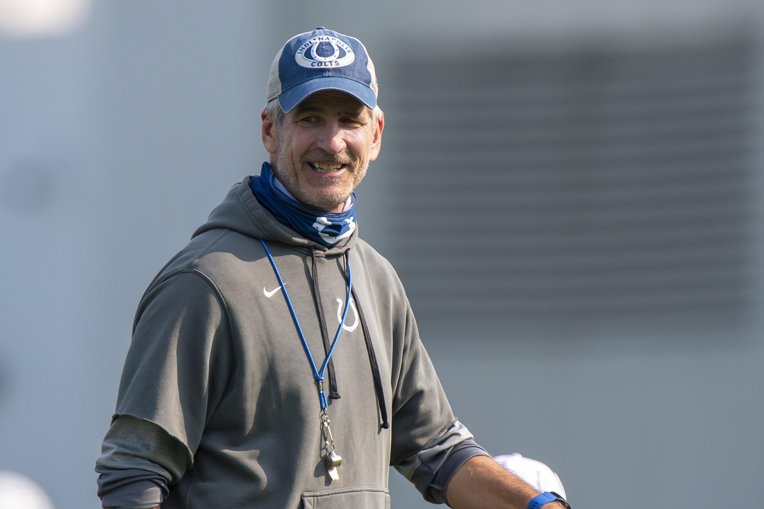 Aug 26, 2020; Indianapolis, Indiana, USA;  Indianapolis Colts head coach Frank Reich smiles during colts training camp at the Farm Bureau Football Complex. Mandatory Credit: Marc Lebryk-USA TODAY Sports
