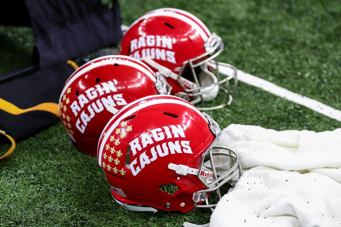 Dec 17, 2016; New Orleans, LA, USA; UL Lafayette Ragin' Cajuns helmets wait to be used during the game against Southern Mississippi Golden Eagles at the during the R&L Carriers New Orleans Bowl college football game at the Mercedes-Benz Superdome.  Southern Mississippi won 28-21. Mandatory Credit: Stephen Lew-USA TODAY Sports