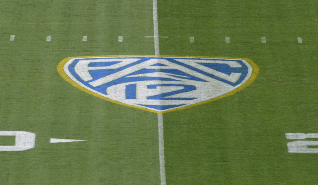 Sep 3, 2017; Pasadena, CA, USA; General overall view of the Pac-12 Conference logo on the field during a NCAA football game between the UCLA Bruins and the Texas A&M Aggies at Rose Bowl. Mandatory Credit: Kirby Lee-USA TODAY Sports