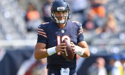 Chicago Bears quarterback Mitchell Trubisky (10) warms up before a game against the Atlanta Falcons at Soldier Field. Mandatory Credit: Patrick Gorski-USA TODAY Sports