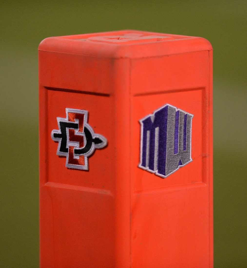 Sep 16, 2017; San Diego, CA, USA; A detailed view of the pylon with San Diego State Aztecs and Mountain West Conference logos during the game against the Stanford Cardinal at Qualcomm Stadium. Mandatory Credit: Jake Roth-USA TODAY Sports